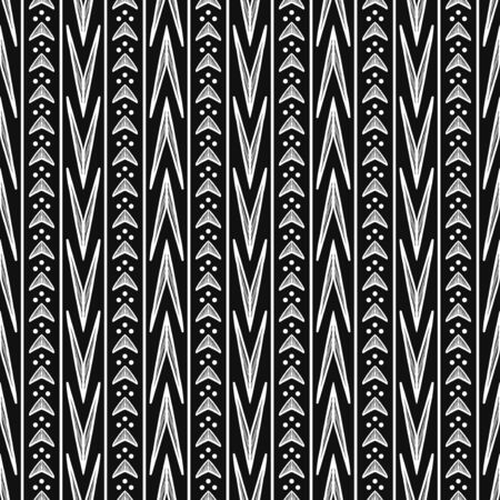 vector white ethnic multi arrow and vertical lines seamless pattern on black Ilustração