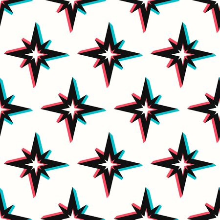 vector modern multi 3 dimension star seamless pattern on white