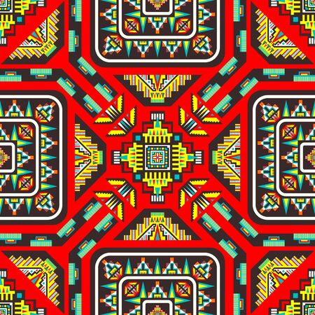 modern contemporary colorful ethnic geometric pattern on red