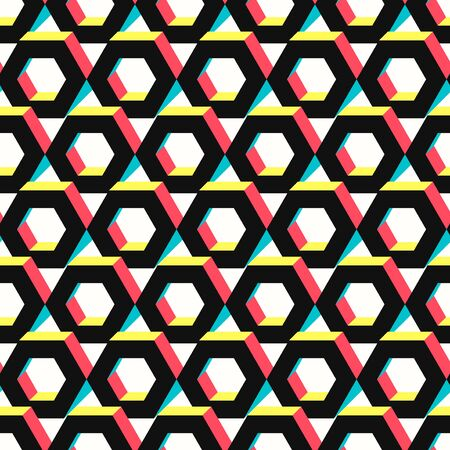vector modern multi hexagon overlap seamless pattern on white Ilustração
