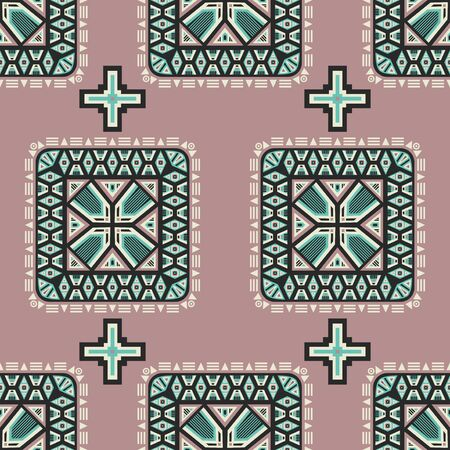 vector rounded square and cross ethnic seamless pattern on earth tone pink