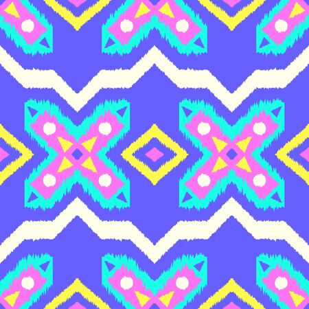 vector colorful ethnic geometric seamless pattern on blue