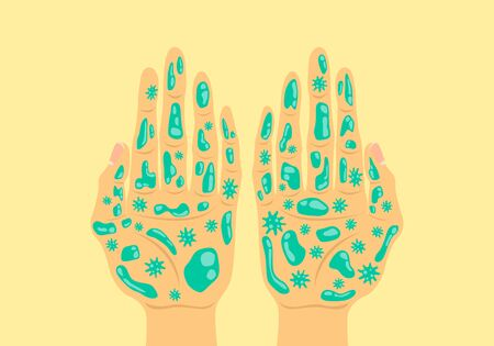 disease bacteria and virus on hands background