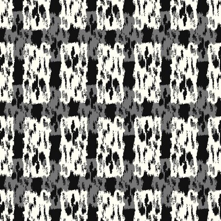 vector white and grey rough rectangle brush overlap seamless pattern on black