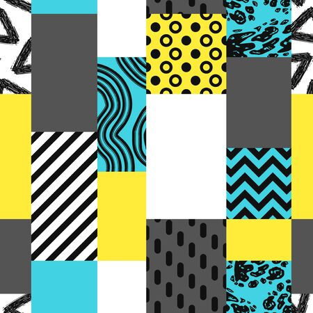 vector modern geometric with rough freeform lines brush seamless pattern Ilustração