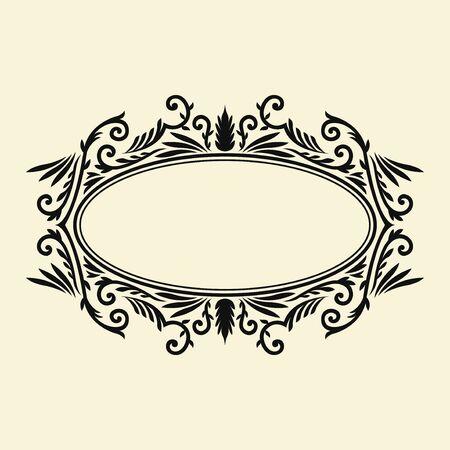 black elegant oval monogram frame template design on cream background