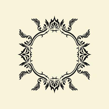 black elegant monogram frame template design on cream background