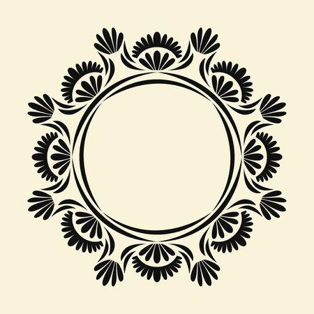black elegant floral monogram circle frame template design on cream background Illustration
