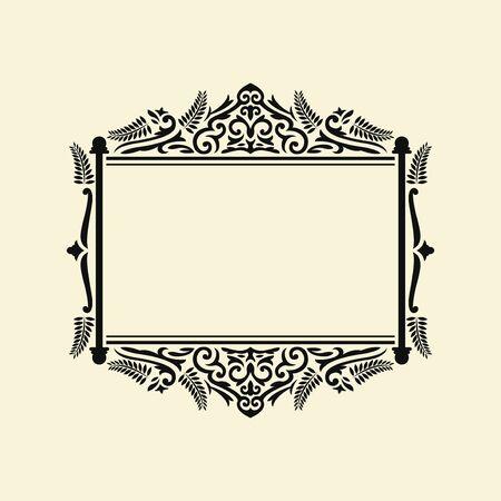 black elegant rectangle monogram frame template design on cream background