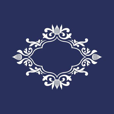 white elegant floral monogram frame template design on blue background Vektorové ilustrace