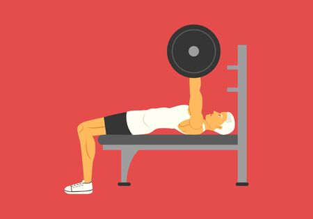 young man doing barbell bench press