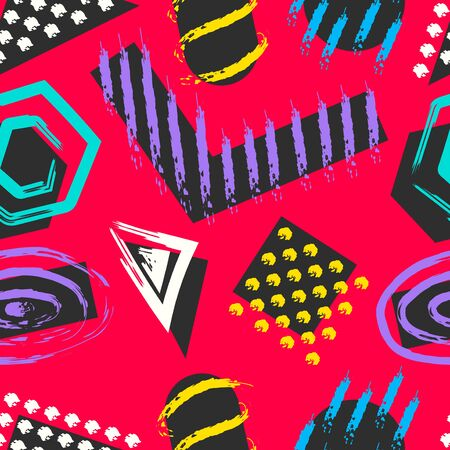 vector black geometric an overlap with rough colorful freeform lines brush seamless pattern on red