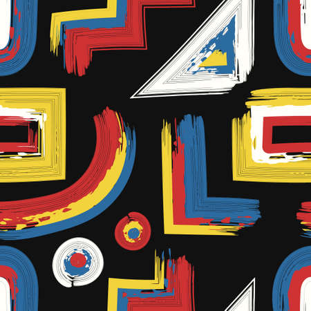 vector rough three color geometric lines brush stroke overlapped seamless pattern on black Ilustração