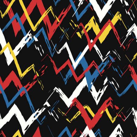 vector rough three color zigzag geometric brush stroke overlapped seamless pattern on black Ilustração