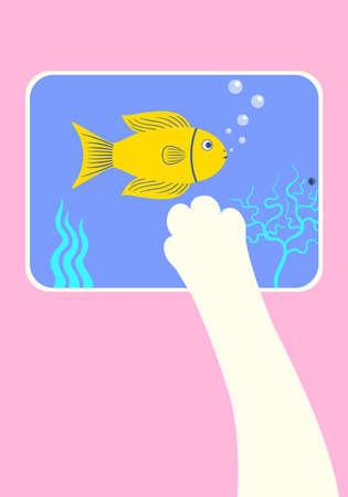 cat leg scratch fish image on tablet Ilustração