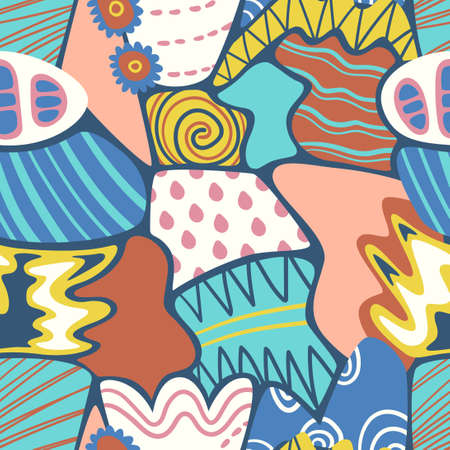 vector doodle colorful freeform and geometric overlapped seamless pattern