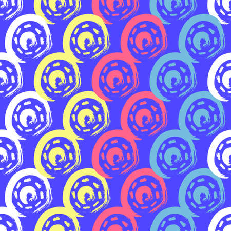 vector colorful rough circle brush stroke overlapped seamless pattern on blue
