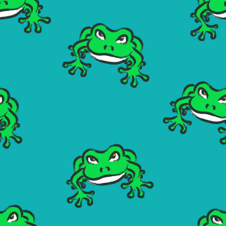 vector green frog with brush stroke outlines seamless pattern on marine blue