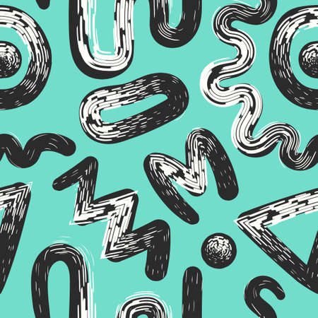 vector multi white rough freeform brush stroke and black lines overlapped seamless pattern on green mint