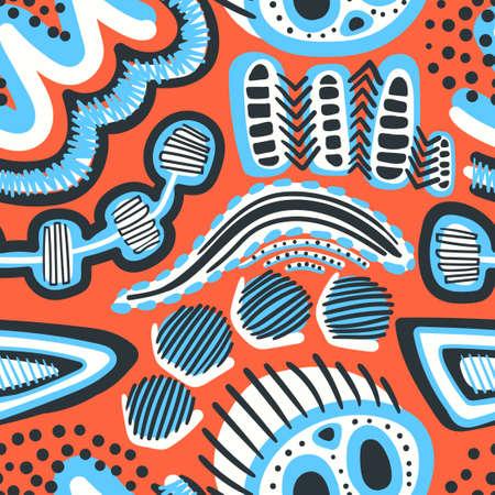 vector multi doodle freeform seamless pattern on orange
