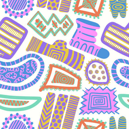 vector multi doodle freeform colorful seamless pattern on white  イラスト・ベクター素材