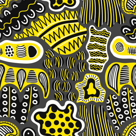 vector yellow black and white multi doodle freeform seamless pattern on grey