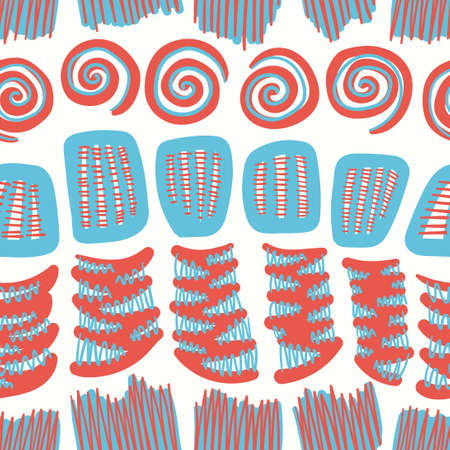 vector multi doodle blue and orange spiral and zigzag lines seamless pattern on white