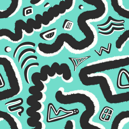 vector multi doodle black and white freeform overlapped seamless pattern on green