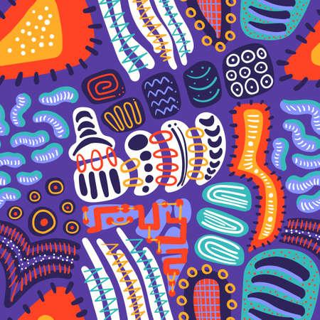 vector multi doodle freeform colorful seamless pattern on purple