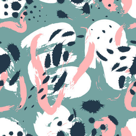 vector multi doodle freeform and lines overlapped seamless pattern on grey green  イラスト・ベクター素材