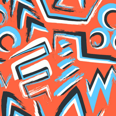 vector multi doodle rough freeform overlapped seamless pattern on orange