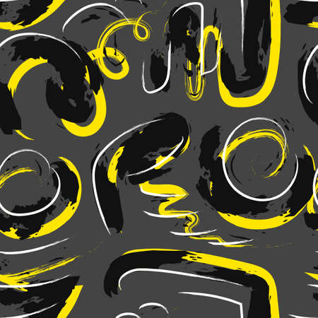 vector yellow black and white rough multi doodle freeform overlapped seamless pattern on grey  イラスト・ベクター素材