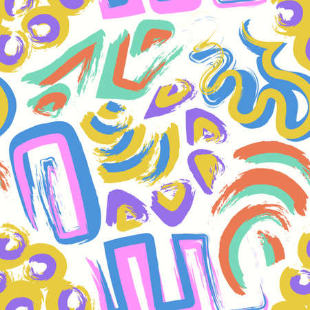 vector multi doodle rough freeform colorful seamless pattern on white