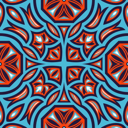 contemporary ethnic octagon floral and leaves pattern on blue