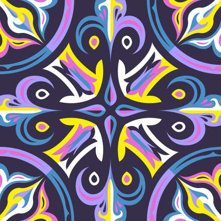 contemporary switching colorful floral pattern on dark violet