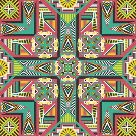 contemporary colorful ethnic geometric pattern on red  イラスト・ベクター素材