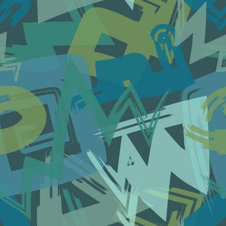 vector multi rough doodle freeform brush stroke overlapped seamless pattern on dark green