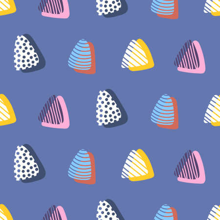 vector colorful doodle rounded triangle overlapped seamless pattern on blue