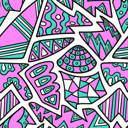 vector colorful doodle gemetric with black outlines seamless pattern on white