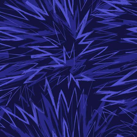vector blue tone rough doodle zigzag splash lines brush stroke overlapped seamless pattern