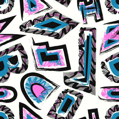 vector black green pink rough geometric and lines brush stroke seamless pattern on white  イラスト・ベクター素材
