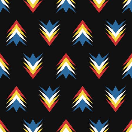 vector modern arrow overlapped seamless pattern on black Ilustração