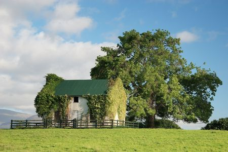 ireland: Country house on beautiful warm day.