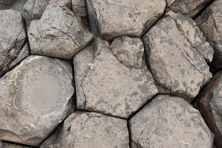 giants: Close up view of Giants Causeway rock formations Stock Photo