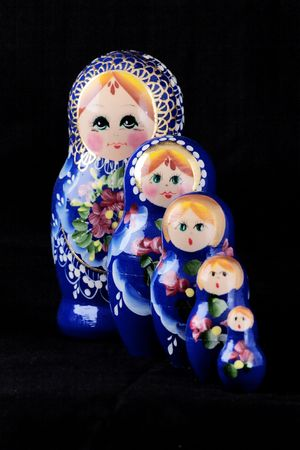 Studio portrait of Babushka dolls on a black background Stock Photo - 6563953
