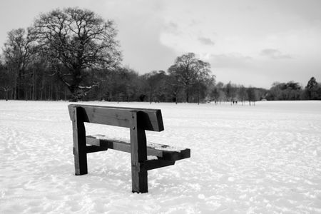 Abandonned bench in a snow filled field with trees in background photo
