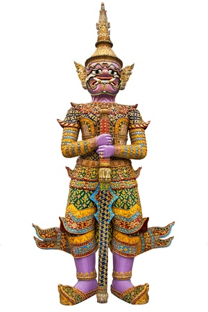 giant guardian wat phra kaew grand palace bangkok isolated on white background