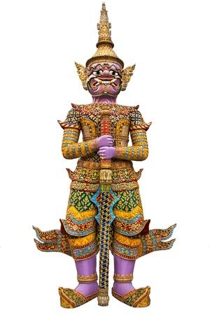 giant guardian wat phra kaew grand palace bangkok isolated on white background