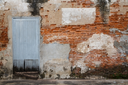 Old door and old brick wall as background photo