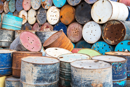 corrosive: old empty barrels containing hazardous chemicals